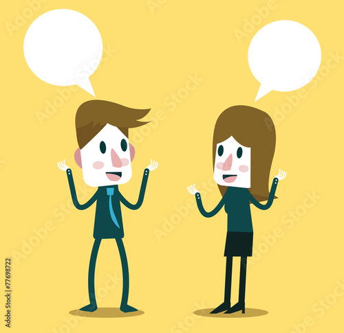 Illustration Two People Talking Vector