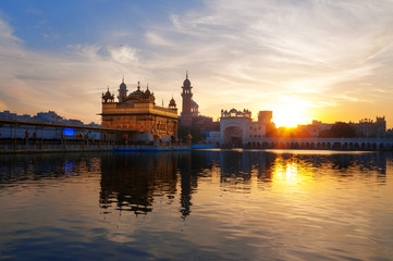 Golden Temple in the early morning .at sunrise Amritsar. India
