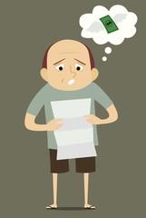 Man reading invoice