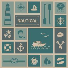 vector nautical background, set icons, captain