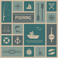 vector fishing background, fish, boat set icons,