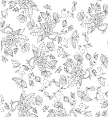 decorative background black and white interwoven with flowers
