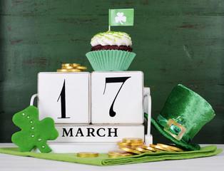 St Patricks Day save the date vintage wood calendar