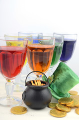 Happy St Patricks Day party rainbow color drinks