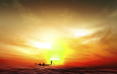 Silhouette picture fisherman nature sunset