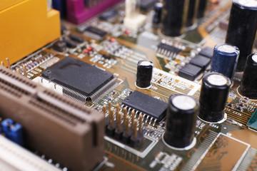 Computer motherboard, macro view