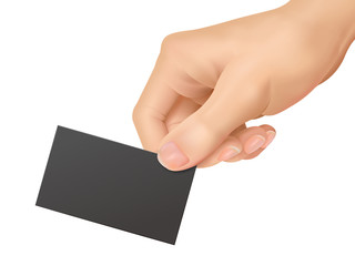 business concept: hands holding a business card