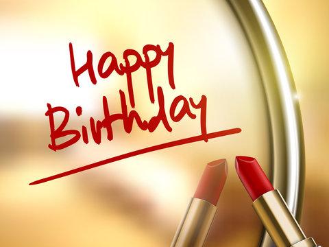 happy birthday words written by red lipstick