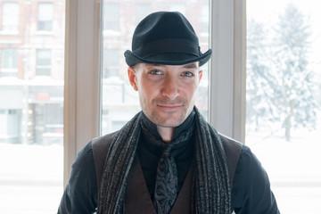 Portrait of Stylish Man Wearing Hat