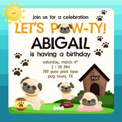 pug birthday invitation
