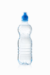 Water. Small plastic water bottle on white background