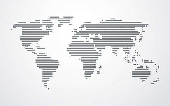 simple map of the world made up of black stripes on a light back