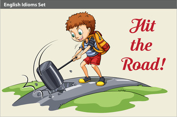 A poster of a boy hitting the road