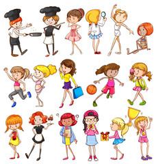 Different activities of girls