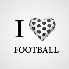 i love football, font type with heart sign.