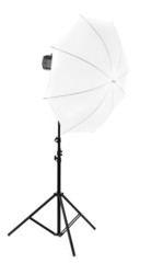 Studio flash with umbrella isolated on white