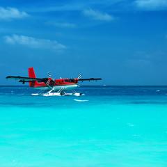 Twin otter seaplane at Maldives
