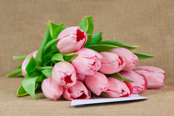 A bouquet of pink tulips with satin ribbon lying on the envelope