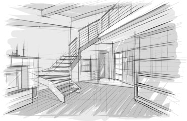 Architecture sketch of interior