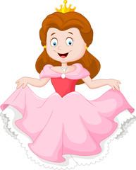 Cartoon princess in pink dress