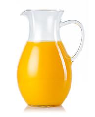 Jug with orange juice isolated on white
