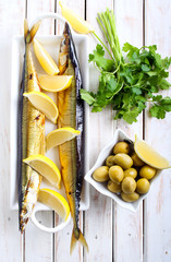 Smoked mackerel pike fish