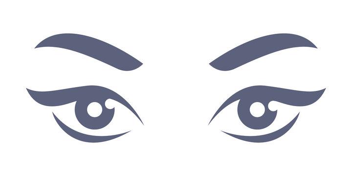 Lady's eyes - simple flat style illustration.