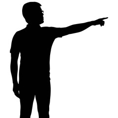 Silhouette man with hand pointing
