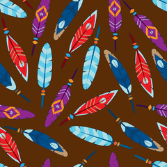 vector seamless colorful feather background