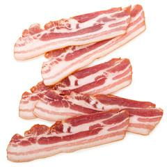 Raw bacon isolated on white background