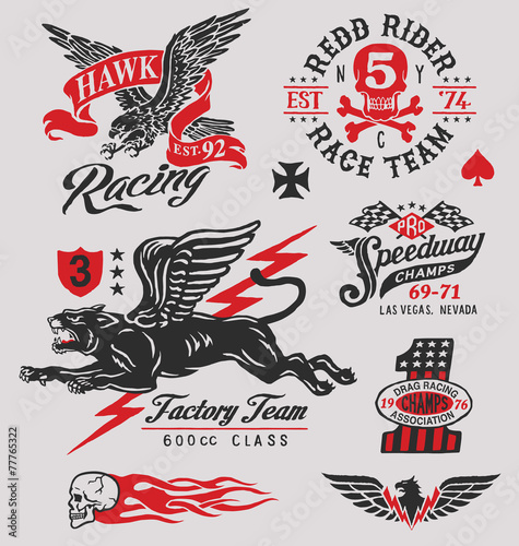 Vintage racing insignia graphics set Royalty Free Vector