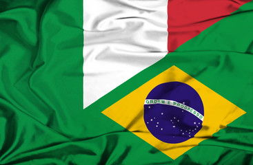 Waving flag of Brazil and Italy