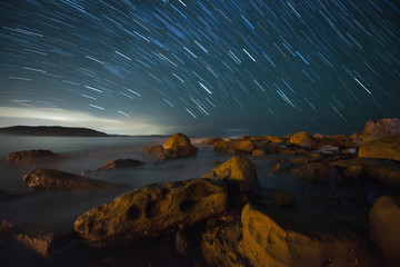 Star trail in Palm beach, Sydney.