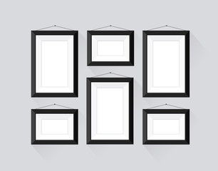 Set of frames with black border for business exhibition.