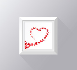 Frame with white border for portfolio. Heart silhouette