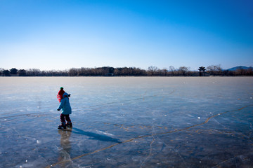 Frozen lake with dry leaf in winter season, Summer Palace, Beiji