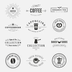 Coffee Retro Vintage Labels Logo design vector typography