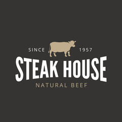 Beef Steak Logo Vintage Retro Label design BBQ Grill