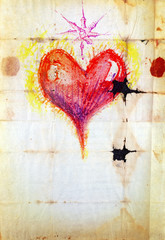 Paper background with red heart.