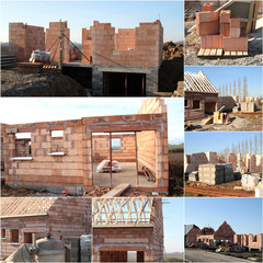 collage maison en construction