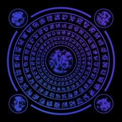 Blue runes on black background