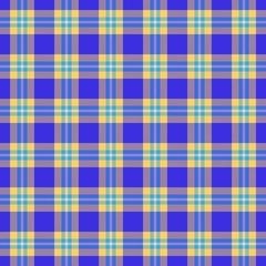 Blue, orange seamless tartan cloth pattern