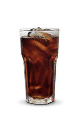glass of cola with ice on wood