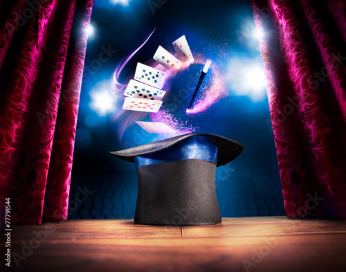 Wall mural High contrast image of magician hat on a stage