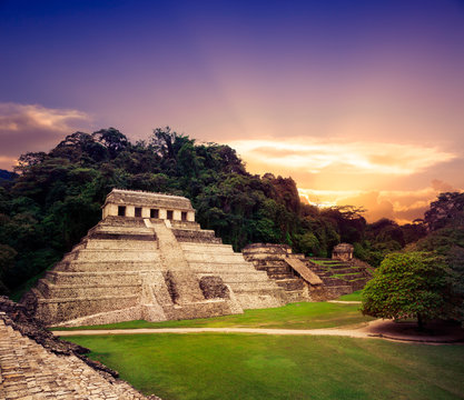 """""""Temple of the Inscriptions"""" in Palenque, Maya city in Chiapas,"""