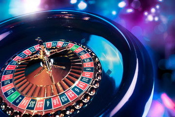 Roulette wheel with a bright and colorful background