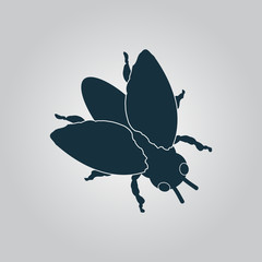 Stencil black flies icon, sign and button