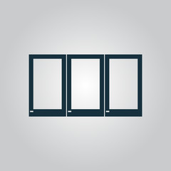 Three window icon, sign and button