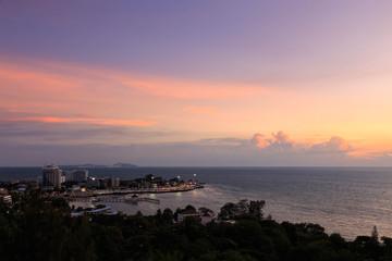 Bangsaen beach at twilight, Chonburi, Thailand