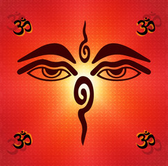 the eyes of a Buddha, a symbol of OM